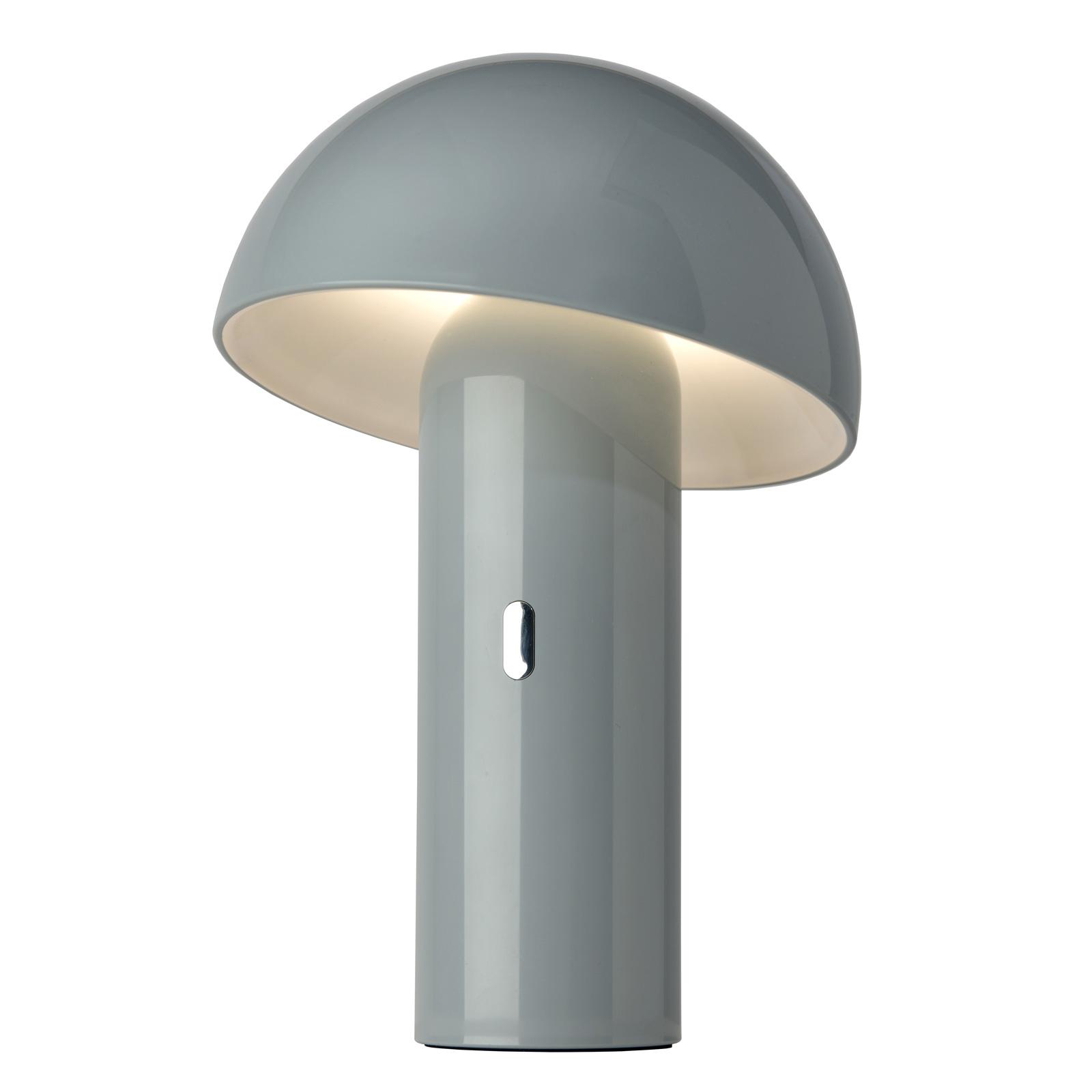 Svamp-LED-pöytälamppu, akku, harmaa