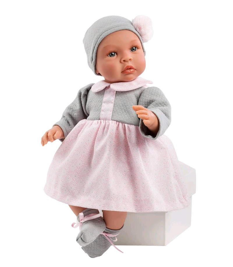Asi dolls - Leonora doll in grey and rose dress, 46 cm