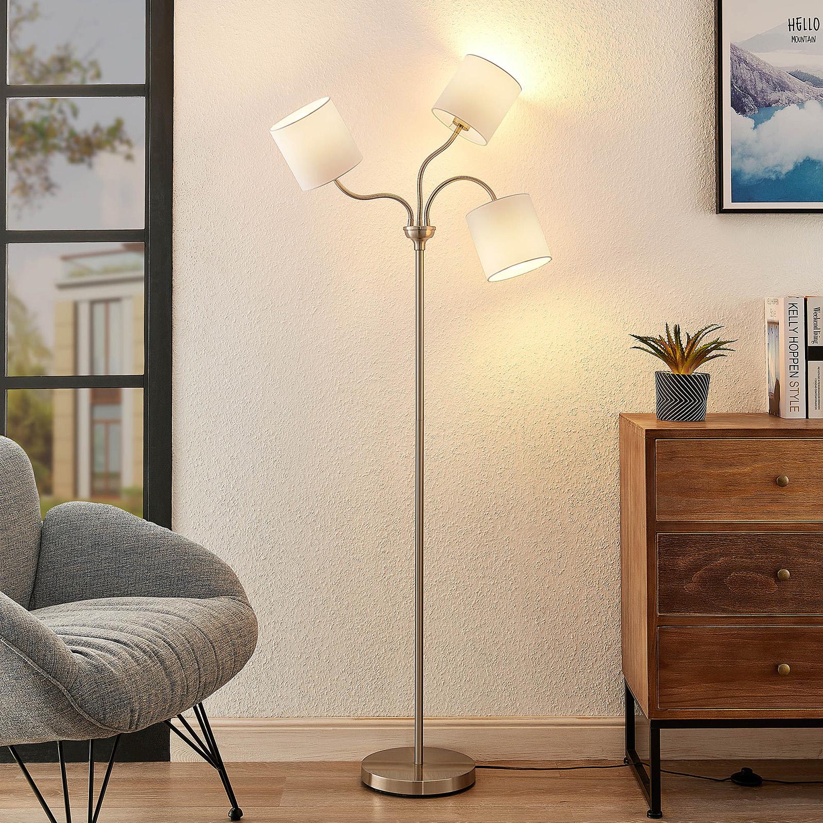 Lindby Manu -lattiavalo, 3-lamp., valkoinen