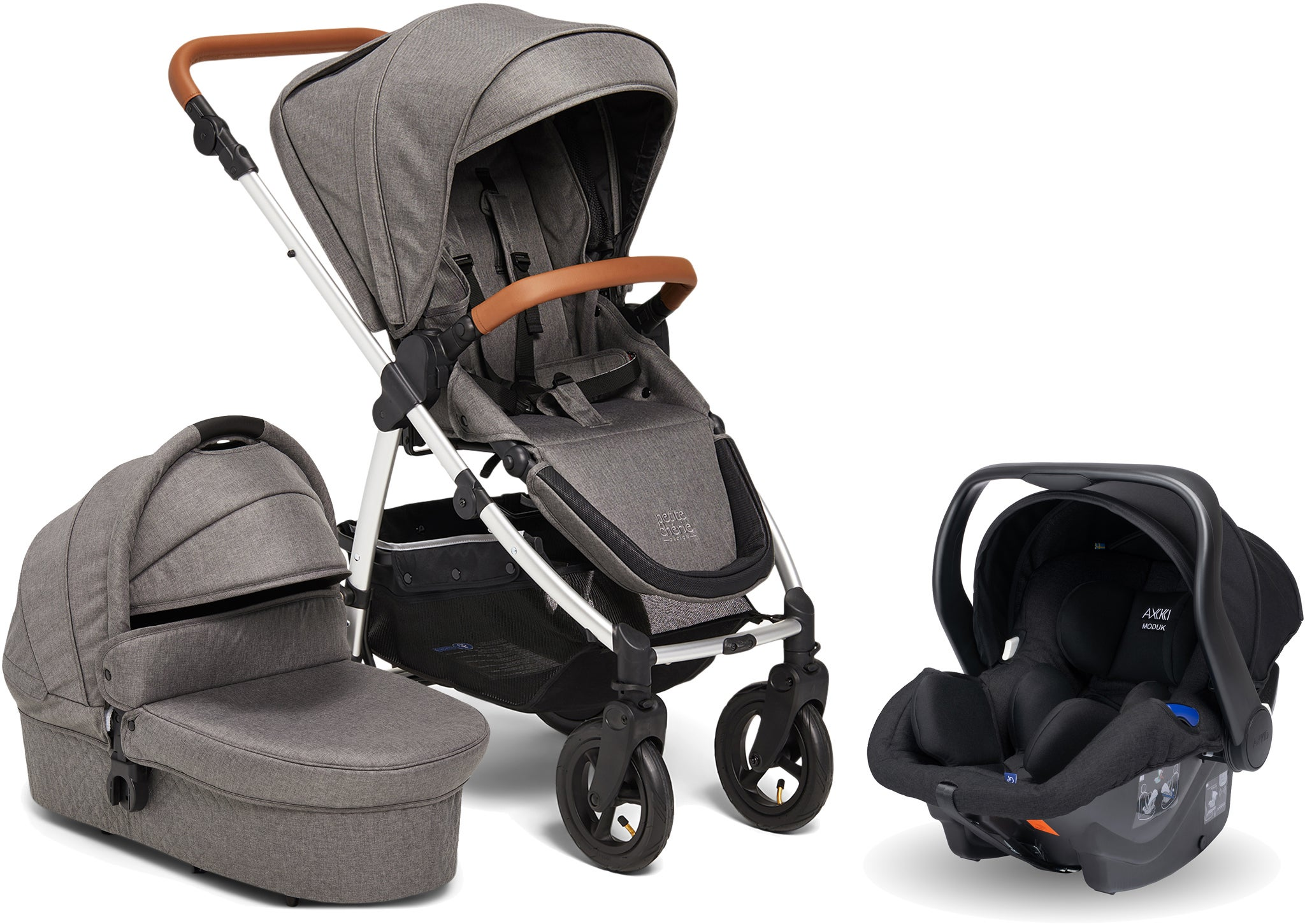 Petite Chérie Heritage 2 Duovagn Inkl. Axkid Modukid Babyskydd, Grey/Silver