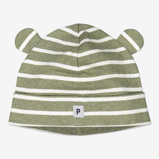 Stripet lue med ører baby grønn