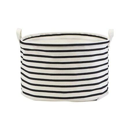 Oppbevaringspose Bomull Stripete Svart/Hvit Ø40cm
