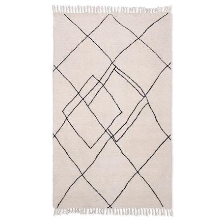 Handvävd zigzag Matta Black/White 150x240 cm