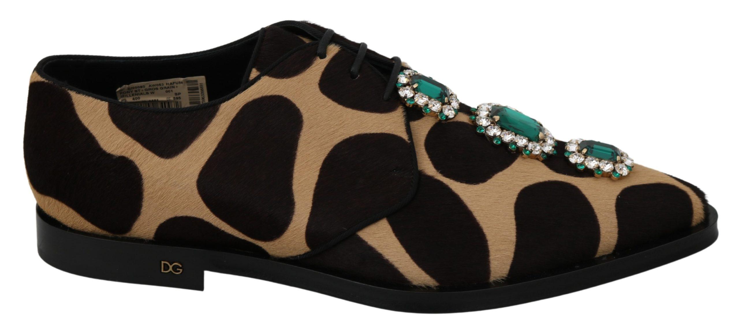 Dolce & Gabbana Women's Pony Hair Crystal Dress Broque Shoe Brown LA7216 - EU40/US9.5