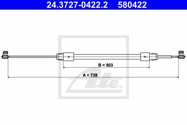 Käsijarruvaijeri ATE 24.3727-0422.2