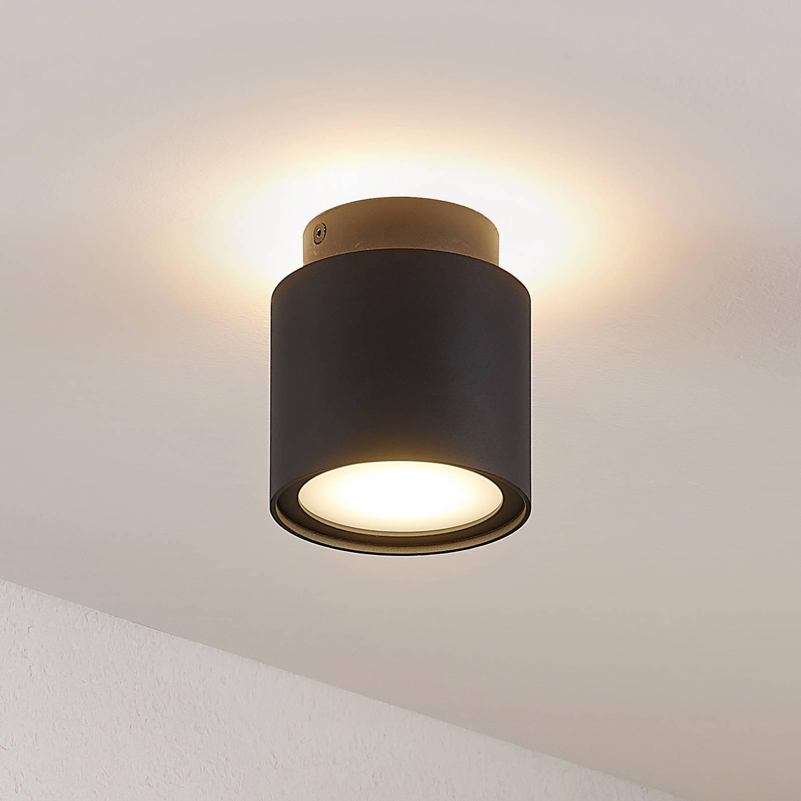 Arcchio Walisa -LED-kattovalaisin maitolasia musta