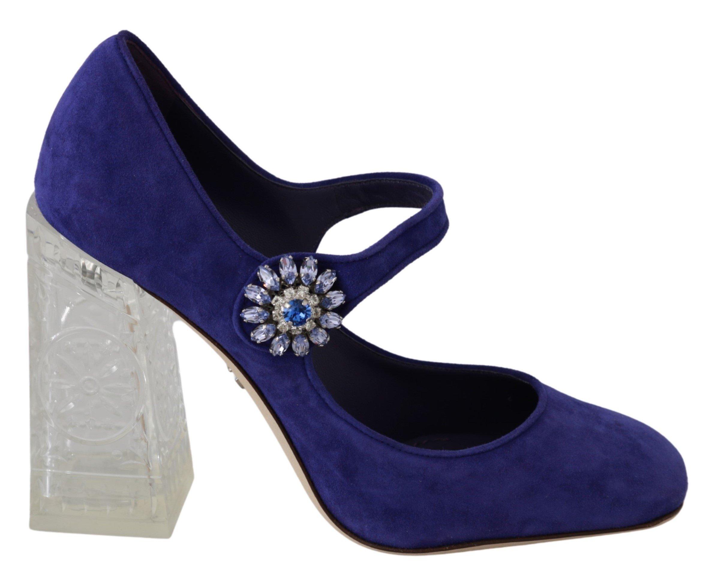 Dolce & Gabbana Women's Suede Crystal Pumps Heels Purple LA6472 - EU36/US5.5