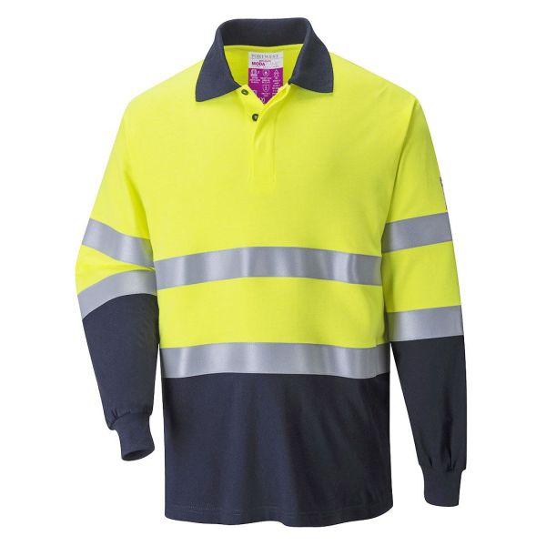 Portwest FR74 Pikétröja Hi-Vis gul/marinblå, flamskyddad S