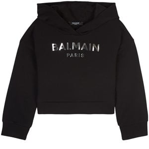 Balmain Logo Crop Huvtröja Svart 6 år