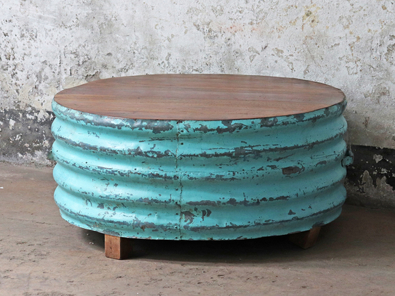 Upcycled Metal Coffee Table - Turquoise Other