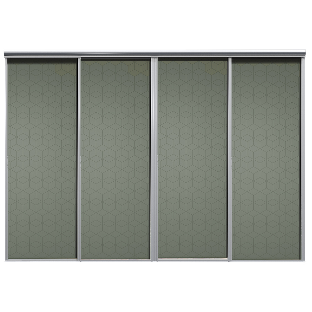 Mix Skyvedør Cube Mosegrønn 3700 mm 4 dører