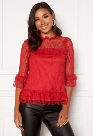 Happy Holly Isabella lace top Red 32/34