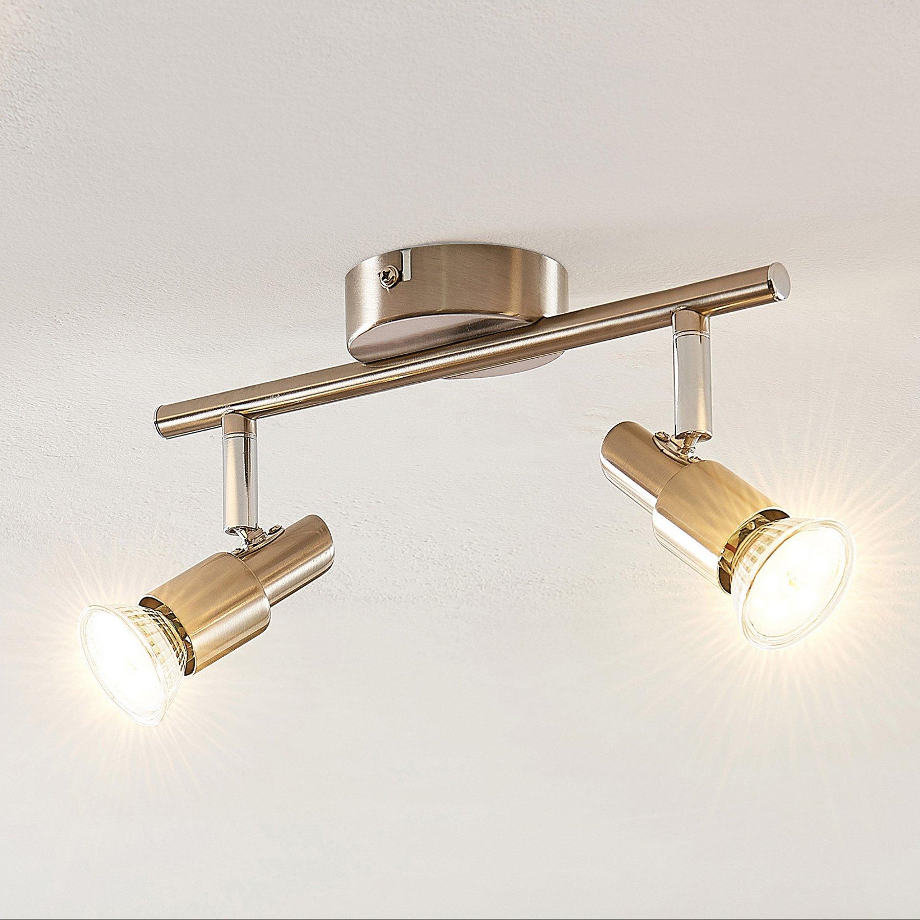 ELC Farida LED-taklampe, nikkel, 2 lyskilder
