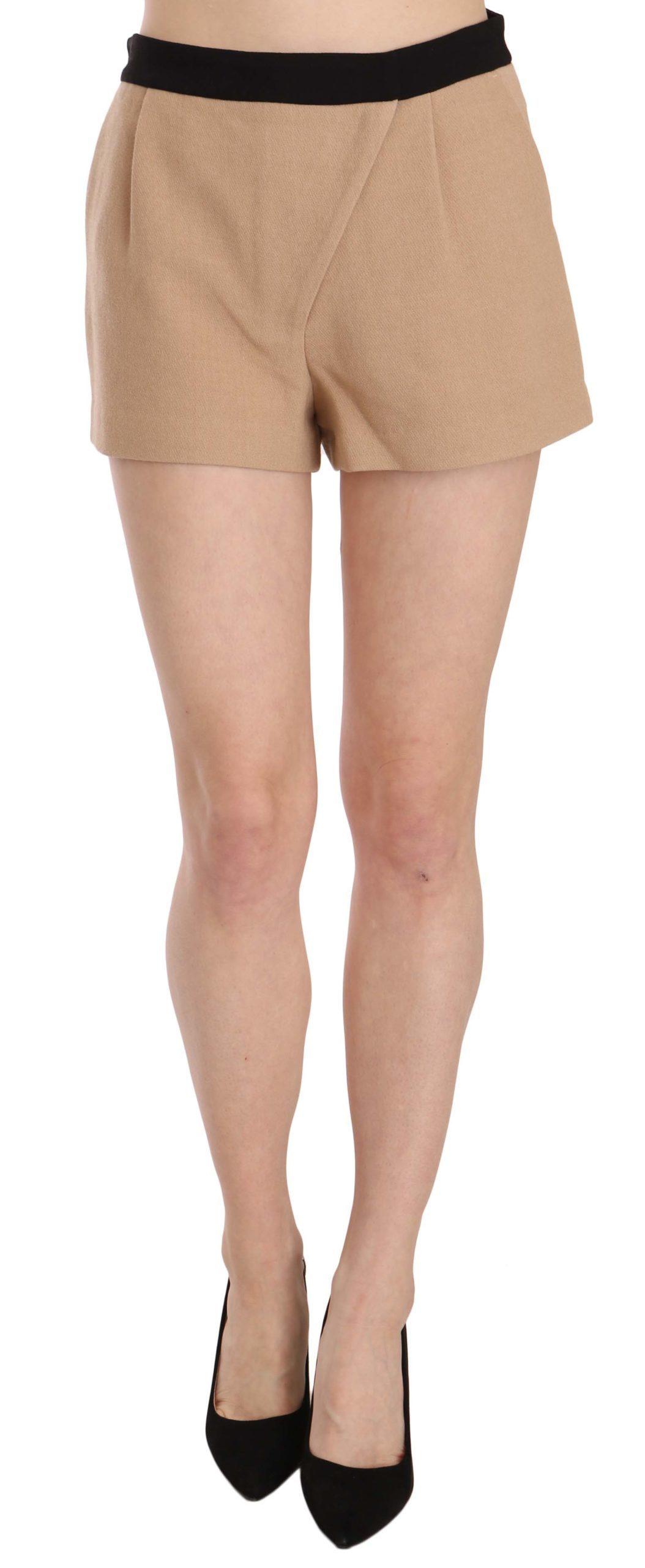 Costume National Women's Cotton Mid Waist Mini Short Beige TSH3951 - IT42|M