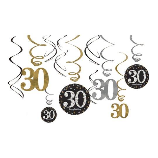 Swirls 30 Guld/Silver Hängande Dekoration - 12-pack