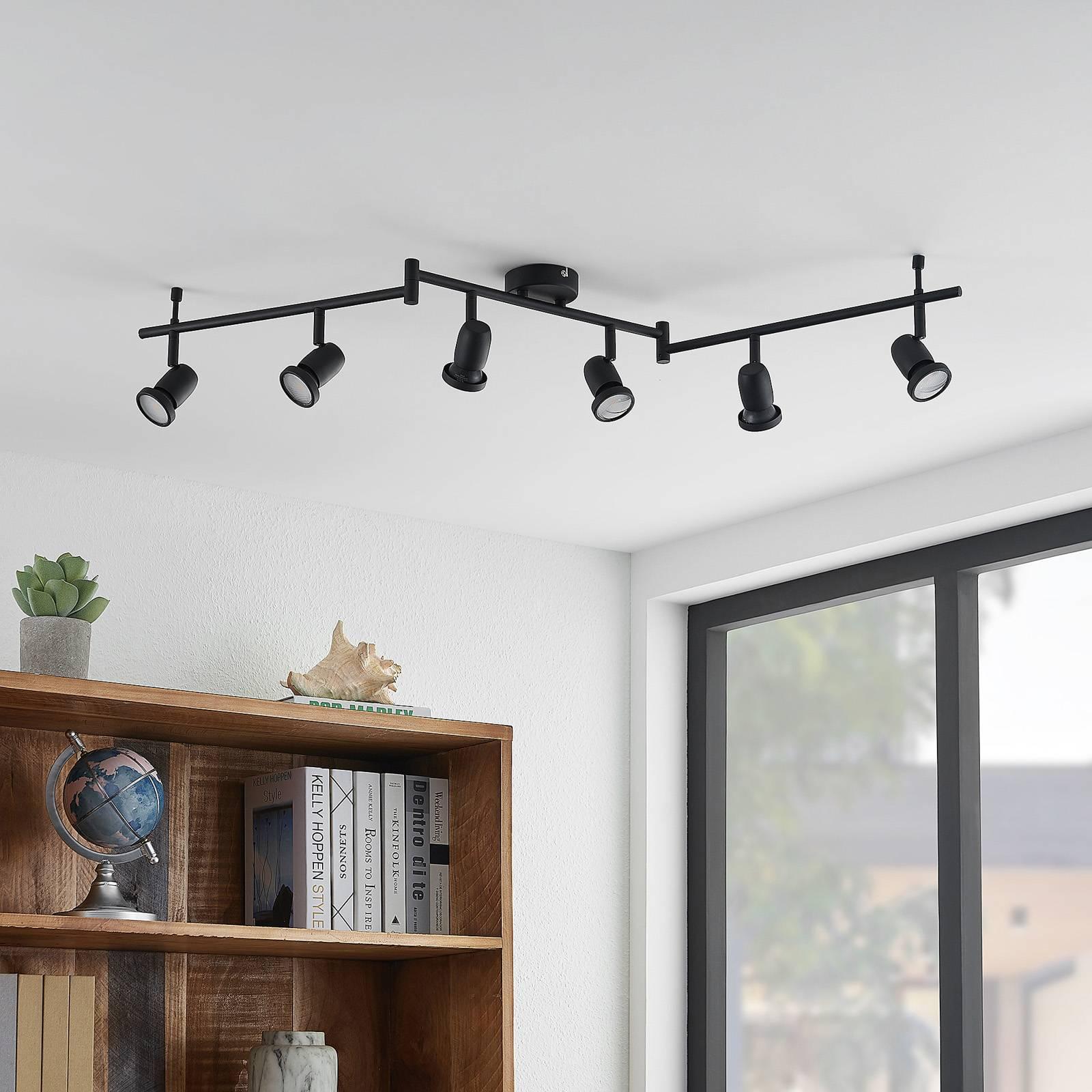 ELC Simano -LED-kattokohdevalo musta, 6-lamppuinen