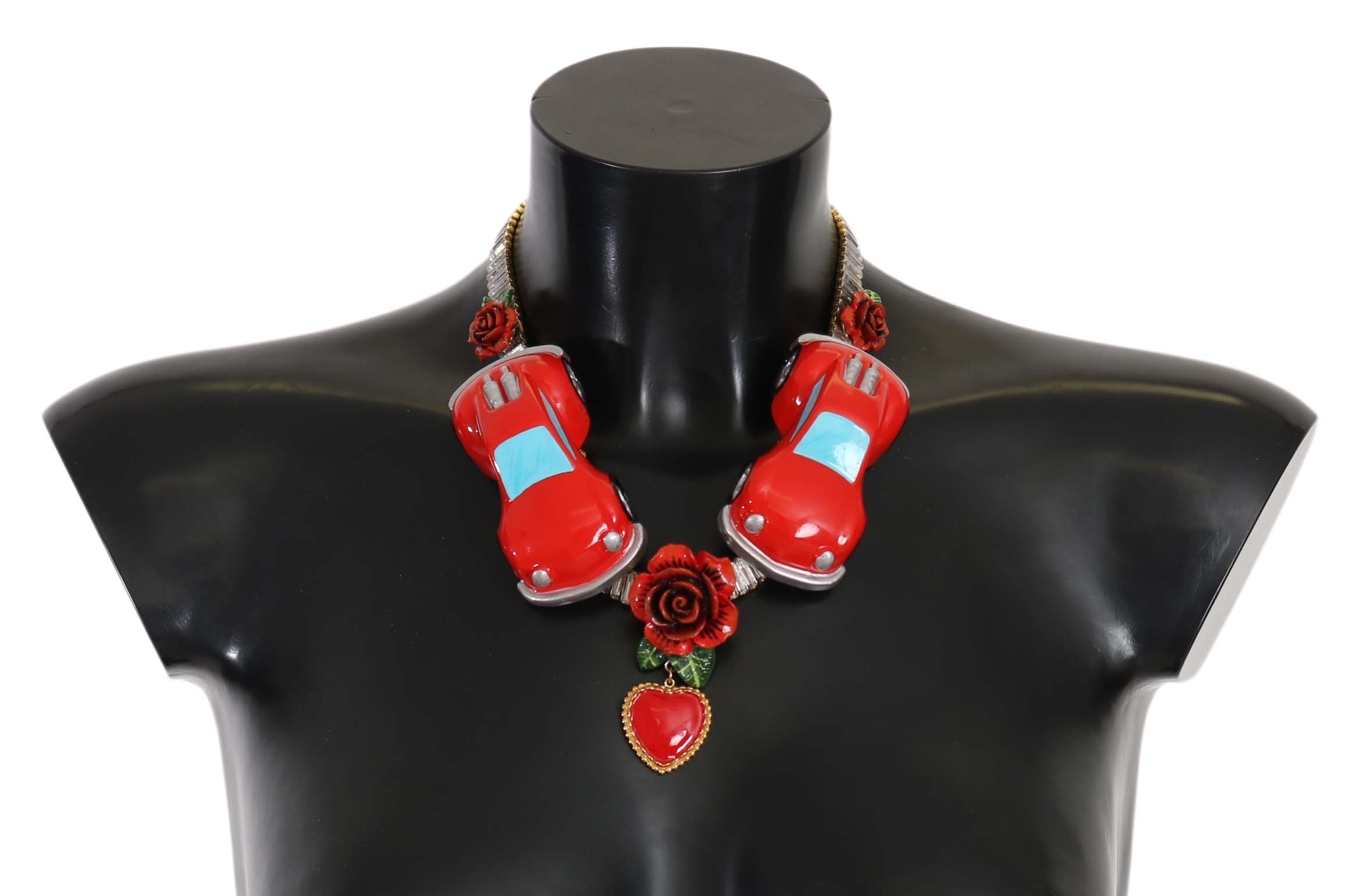 Dolce & Gabbana Women's Roses Heart Car Crystal Charms Necklace Red SMY5085