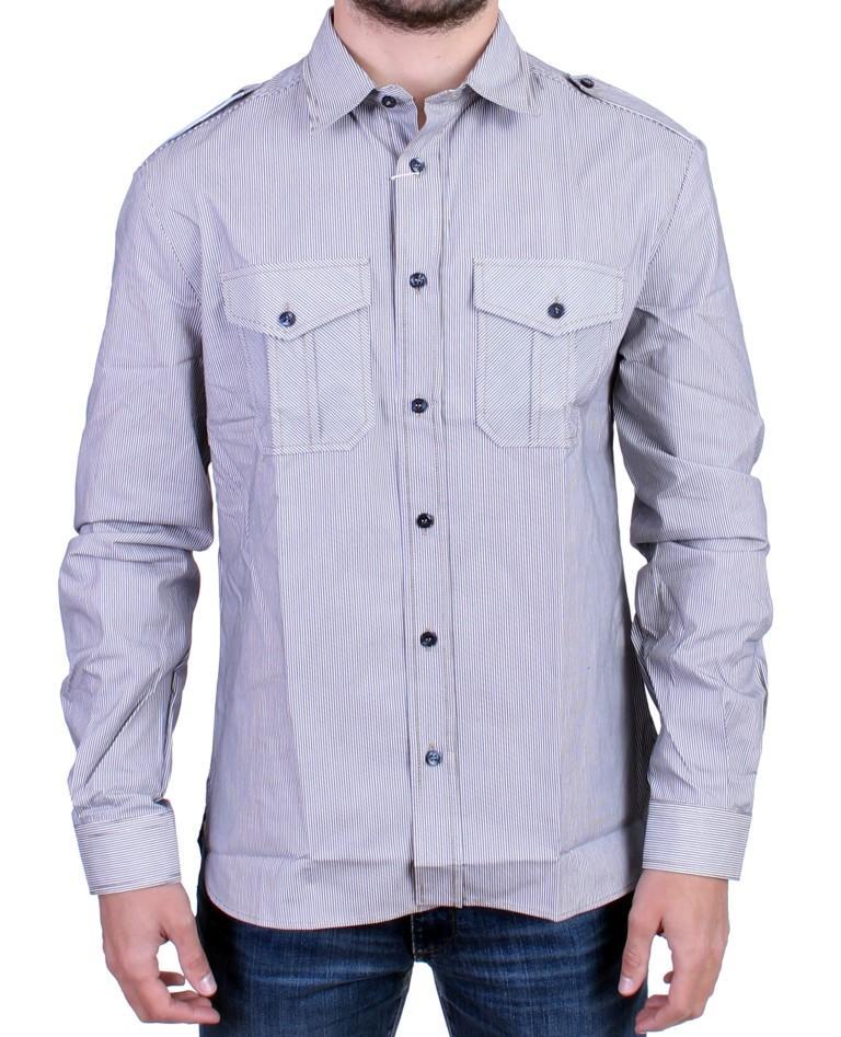 John Galliano Men's Striped Casual Shirt Blue SIG10696 - IT48   M