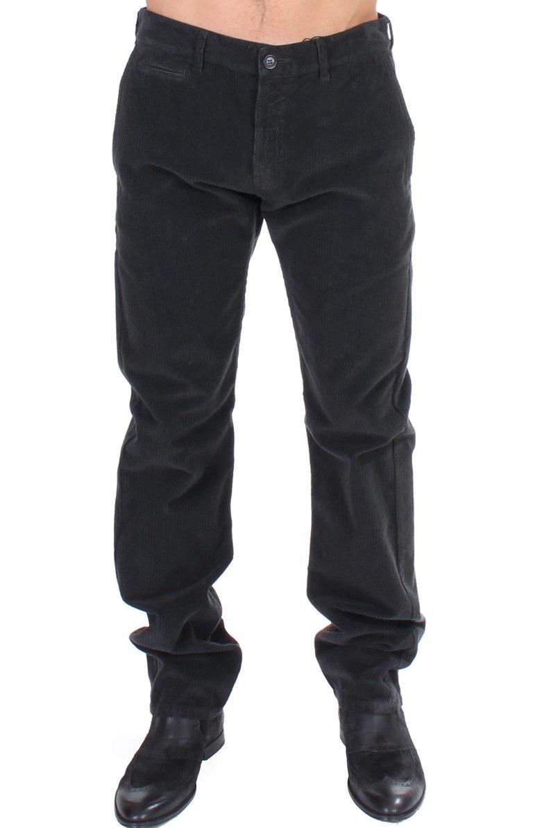GF Ferre Men's Corduroy Cotton Straight Fit Trouser Black SIG11087 - IT48   M