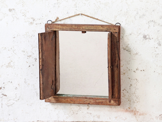 Shuttered Wall Mirror Brown Medium
