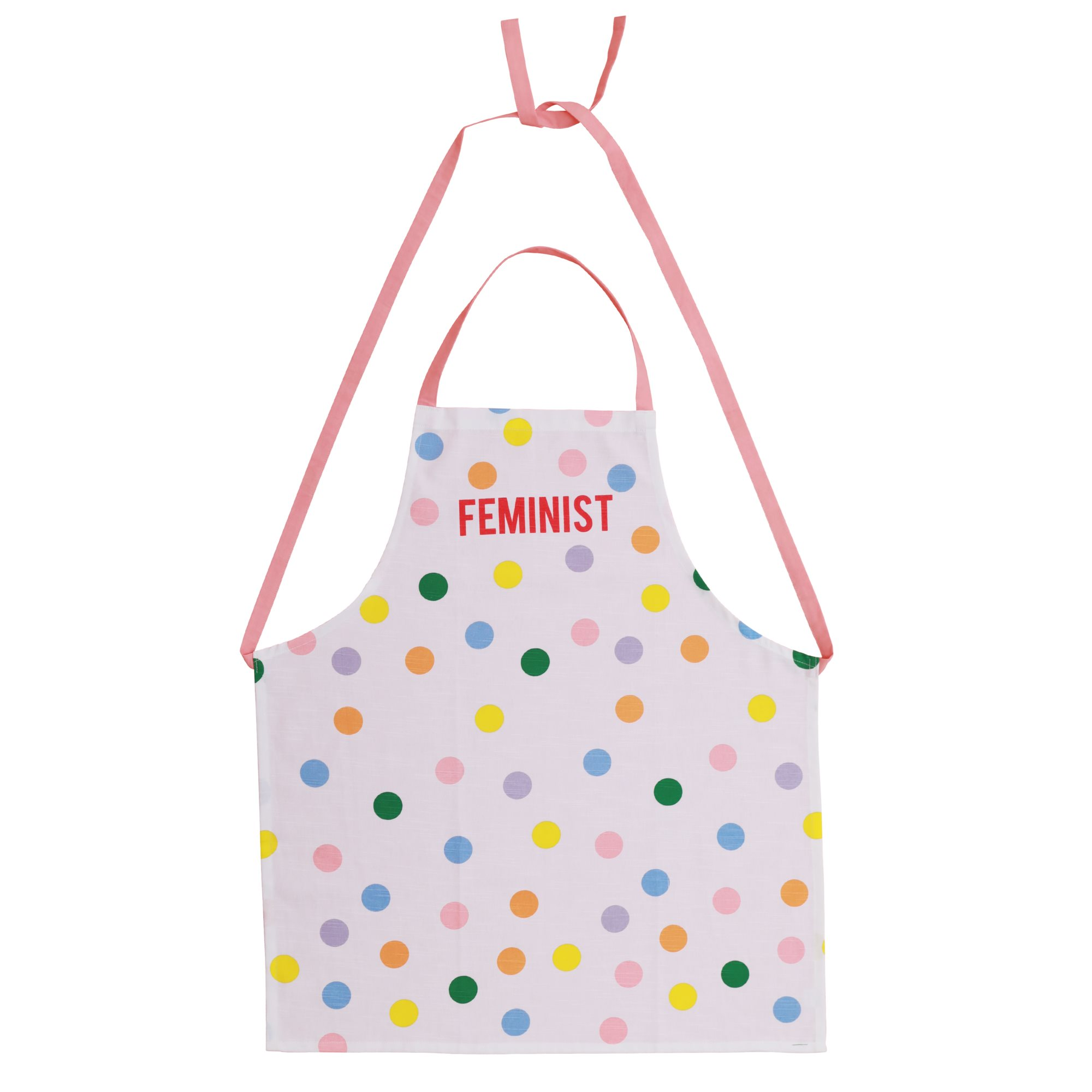 Rice - Cotton Apron w. Dots and Feminist Print