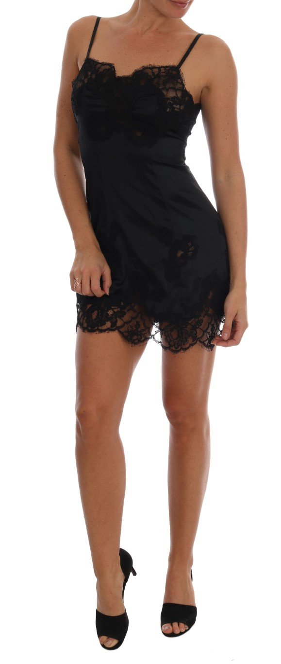 Dolce & Gabbana Women's Silk Lace Chemise Dress Black BIK083 - IT4 | L