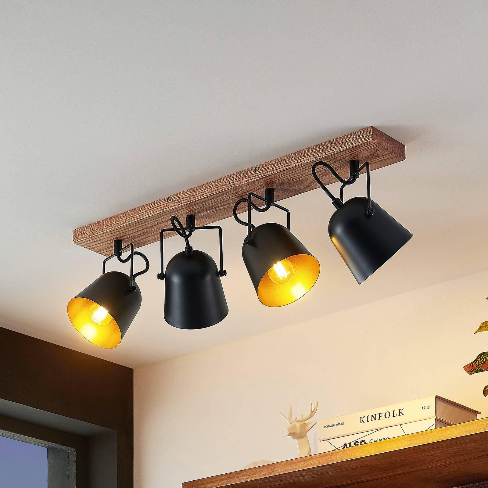 Lindby Adalin -kattovalaisin, 4-lamppuinen, musta