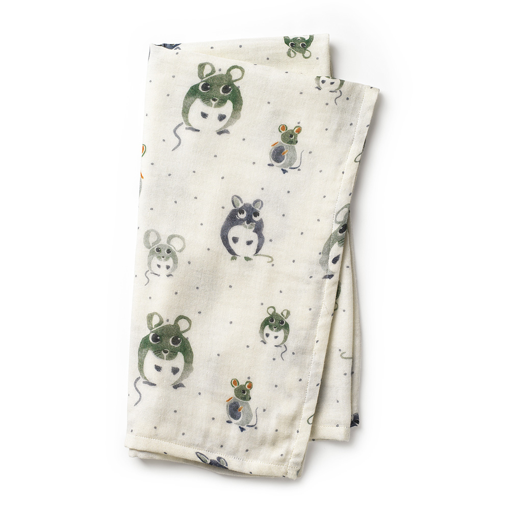 Bamboo Muslin Blanket - Forest Mouse