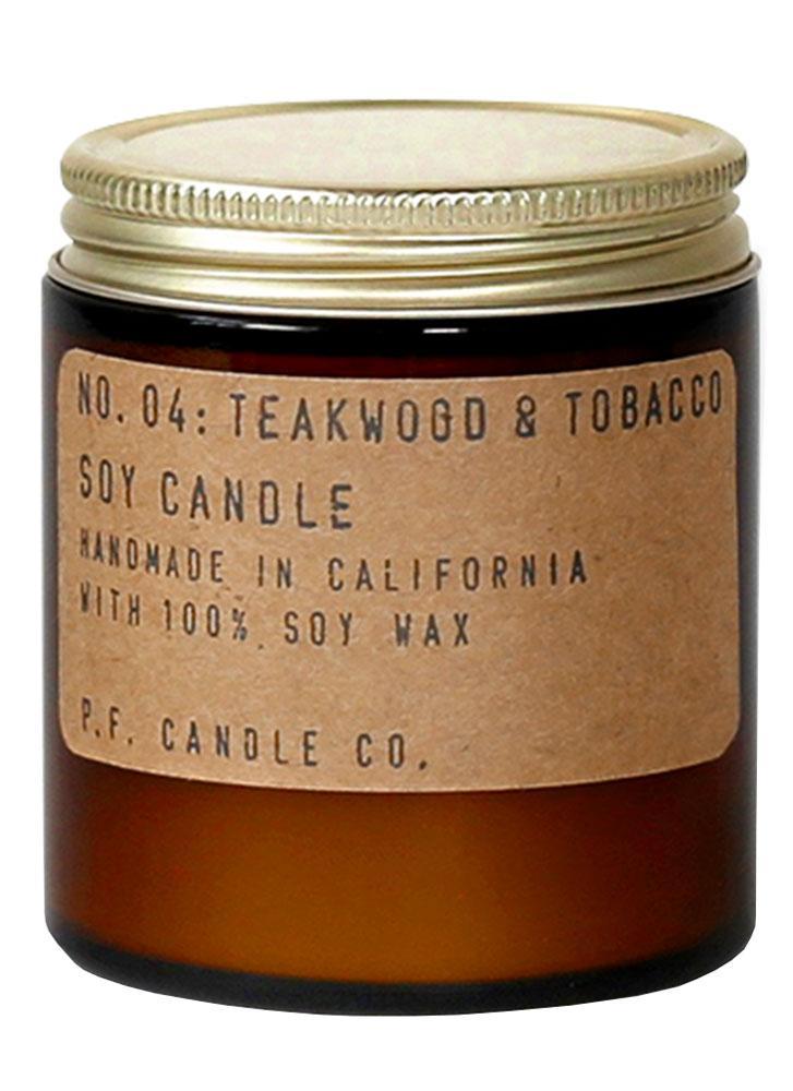 P.F. Candle Co. No. 4 Teakwood and Tobacco Mini Soy Jar Candle