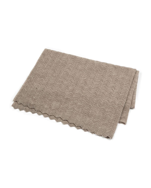 Smallstuff - Baby Blanket Fishbone Merino Wool - Nature