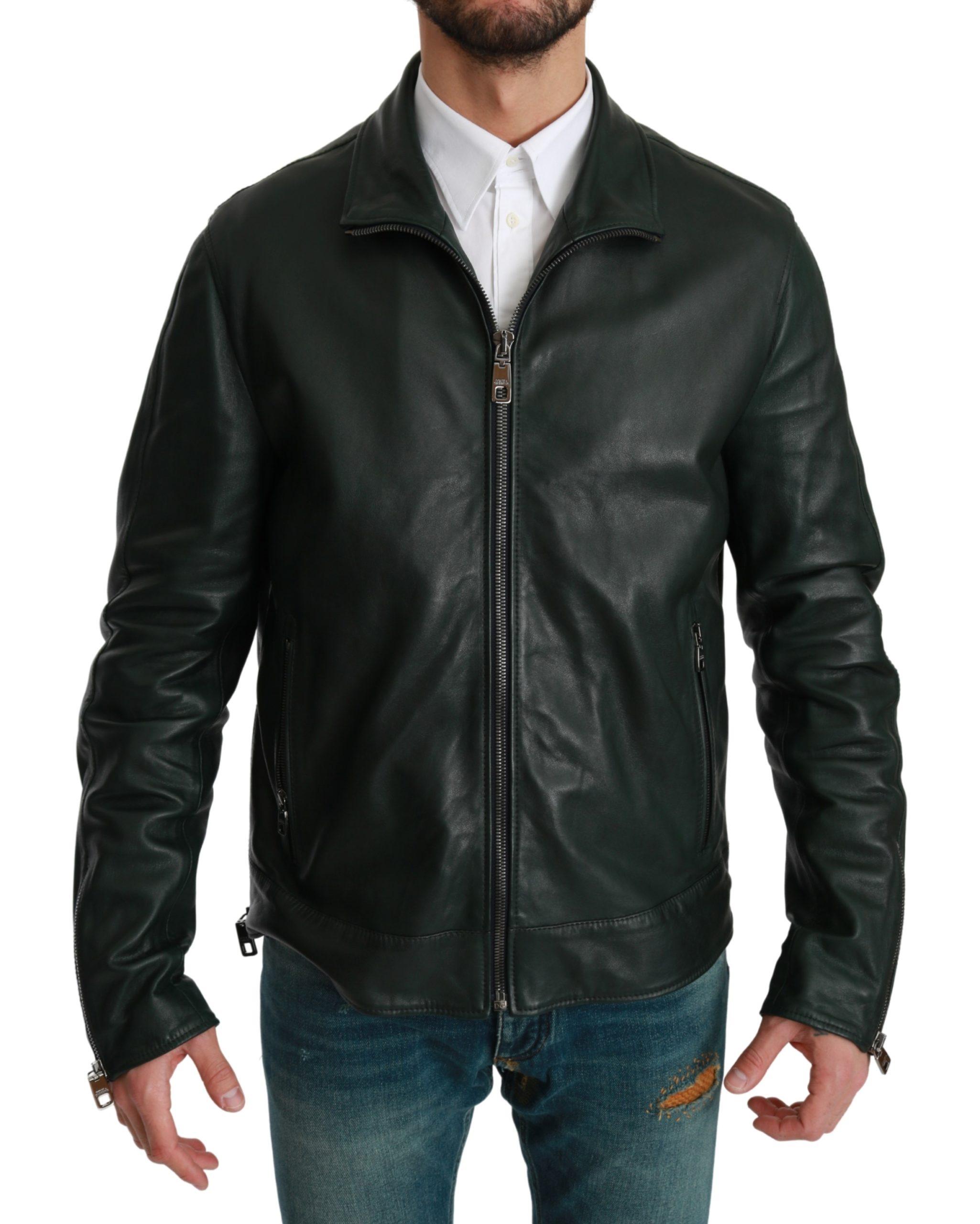 Dolce & Gabbana Men's Full Zip Biker Leather Coat Green JKT2614 - IT52   XL