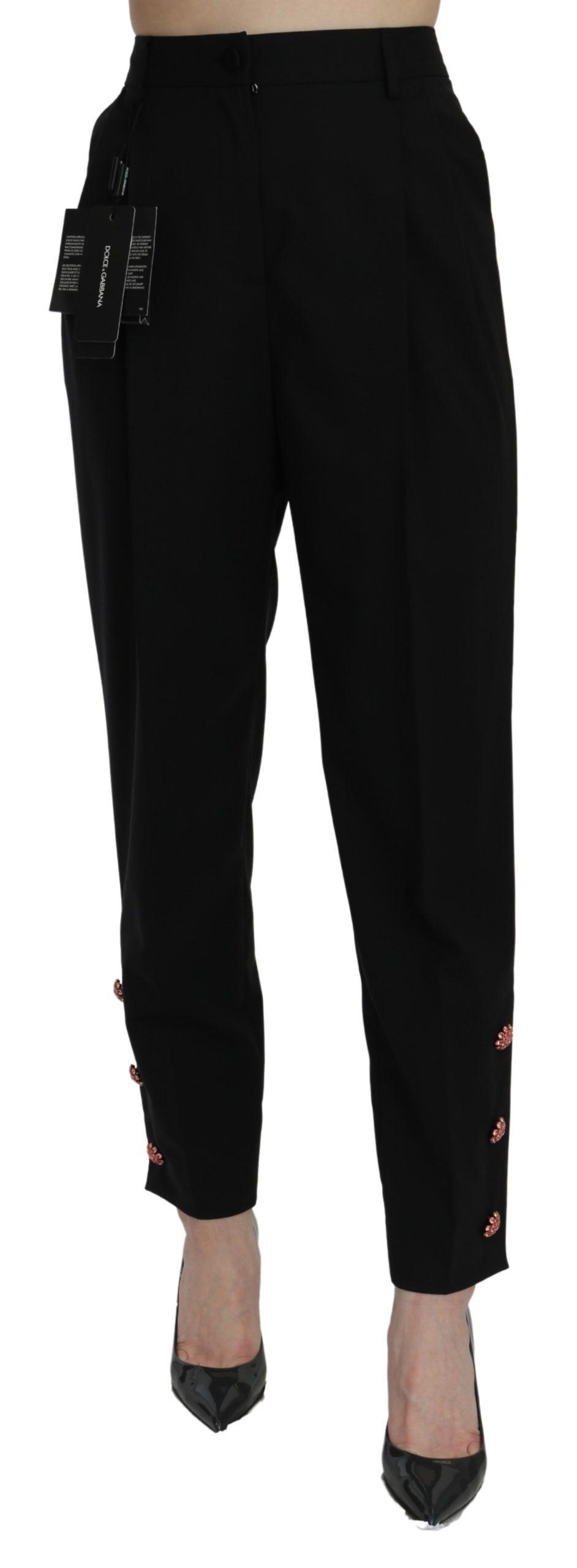 Dolce & Gabbana Women's Crystal High Waist Cotton Trouser Black PAN71015 - IT42 M