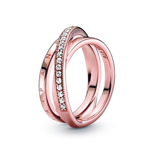 Ring i roseförgyllt äkta silver, 17.0