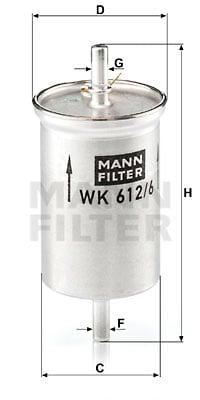Polttoainesuodatin MANN-FILTER WK 612/6