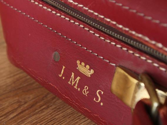 Red Retro Leather Suitcase red Medium