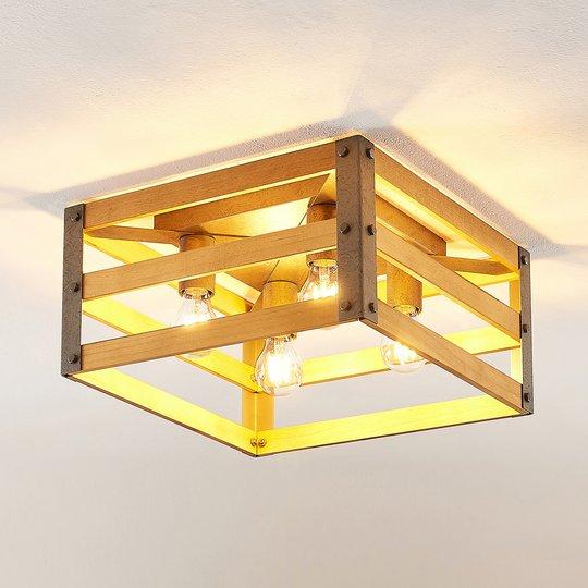 Lindby Jamina -kattovalaisin, puuta, 4-lamppuinen