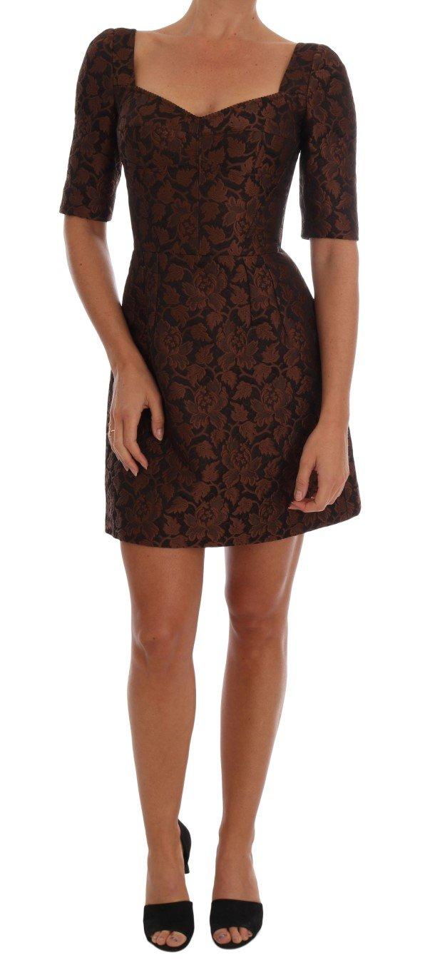 Dolce & Gabbana Women's Floral Brocade A-Line Dress Brown DR1222 - IT40|S