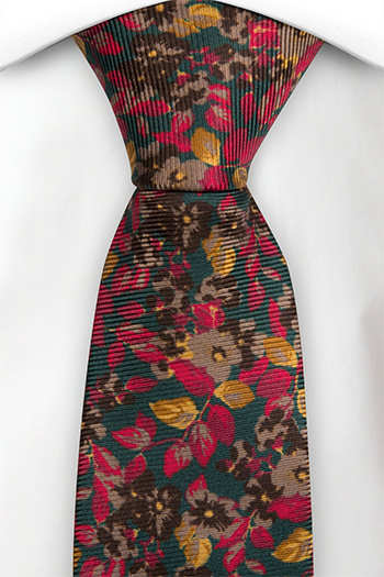 Silke Slips, Grønt med røde og gule blomster, Grønn, Blomstrete