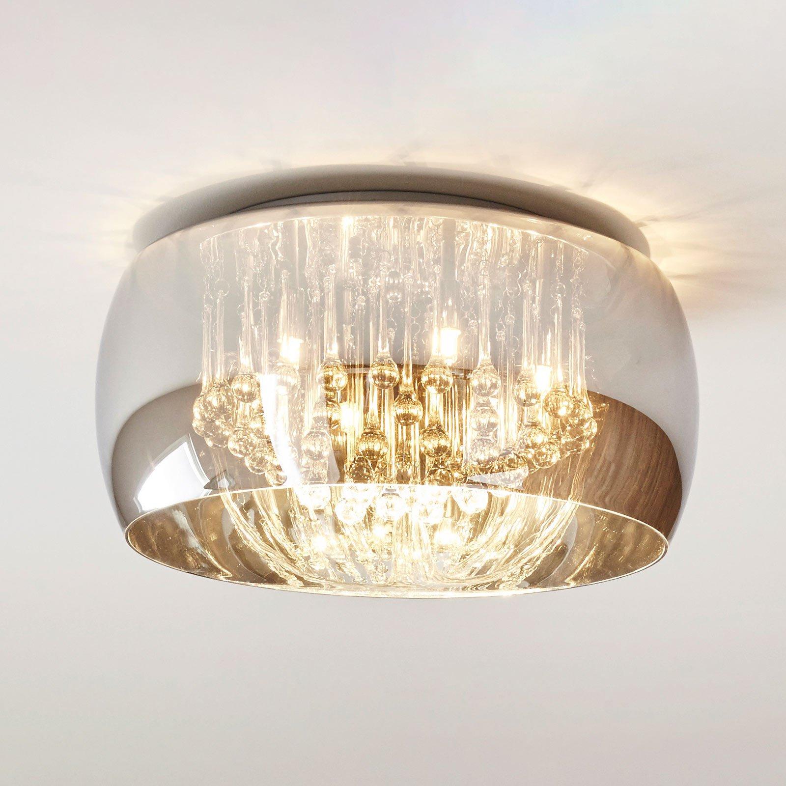 Taklampen Pearl av glass, Ø 50 cm