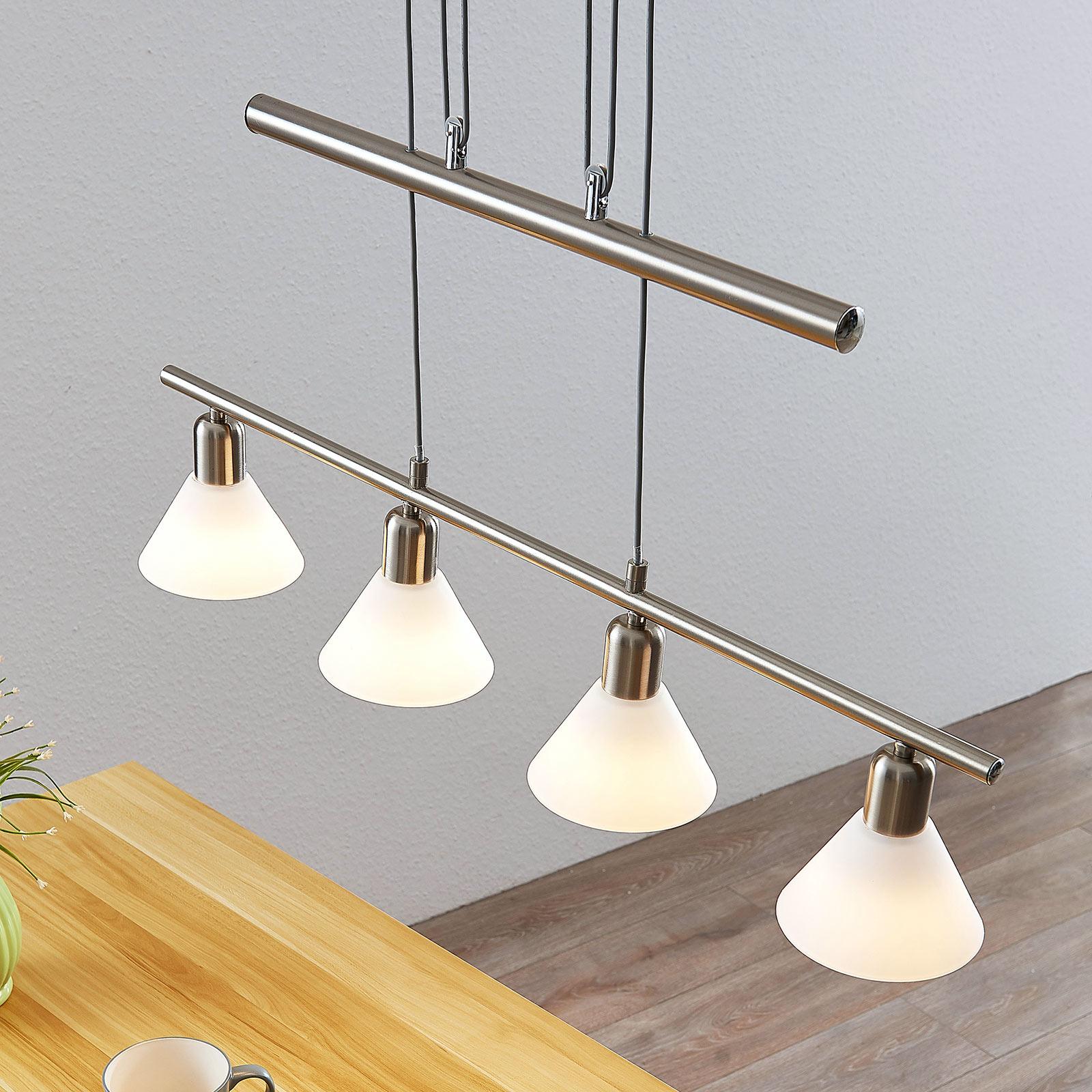 Riippuvalaisin Delira 4-lamppuinen nikkeli