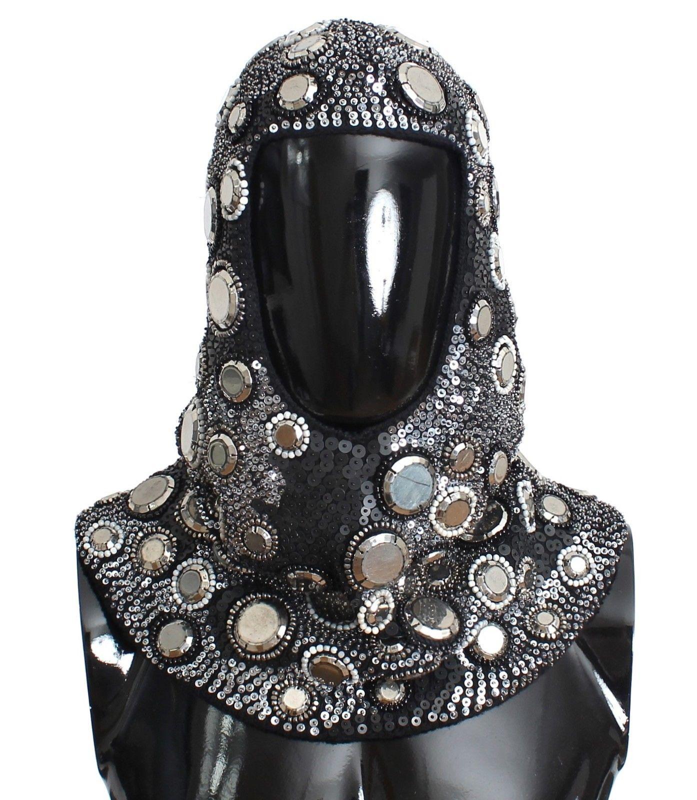 Dolce & Gabbana Men's Wool Crystal Runway Catwalk Crochet Hood Scarf Black SIG11151
