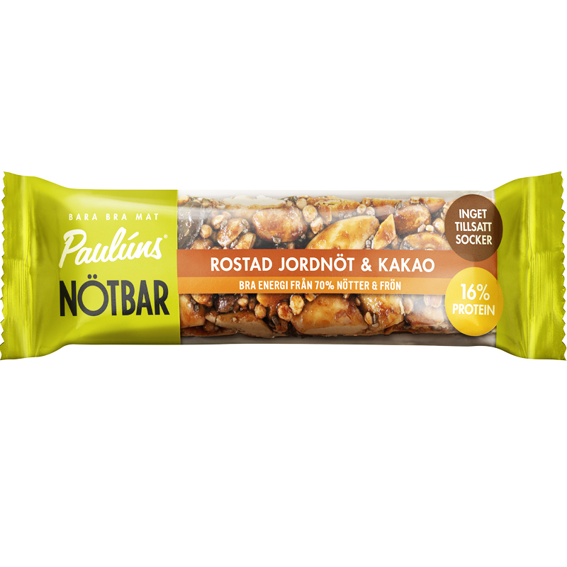 Pauluns Nötbar - Rostad jordnöt & Kakao 35g - 56% rabatt