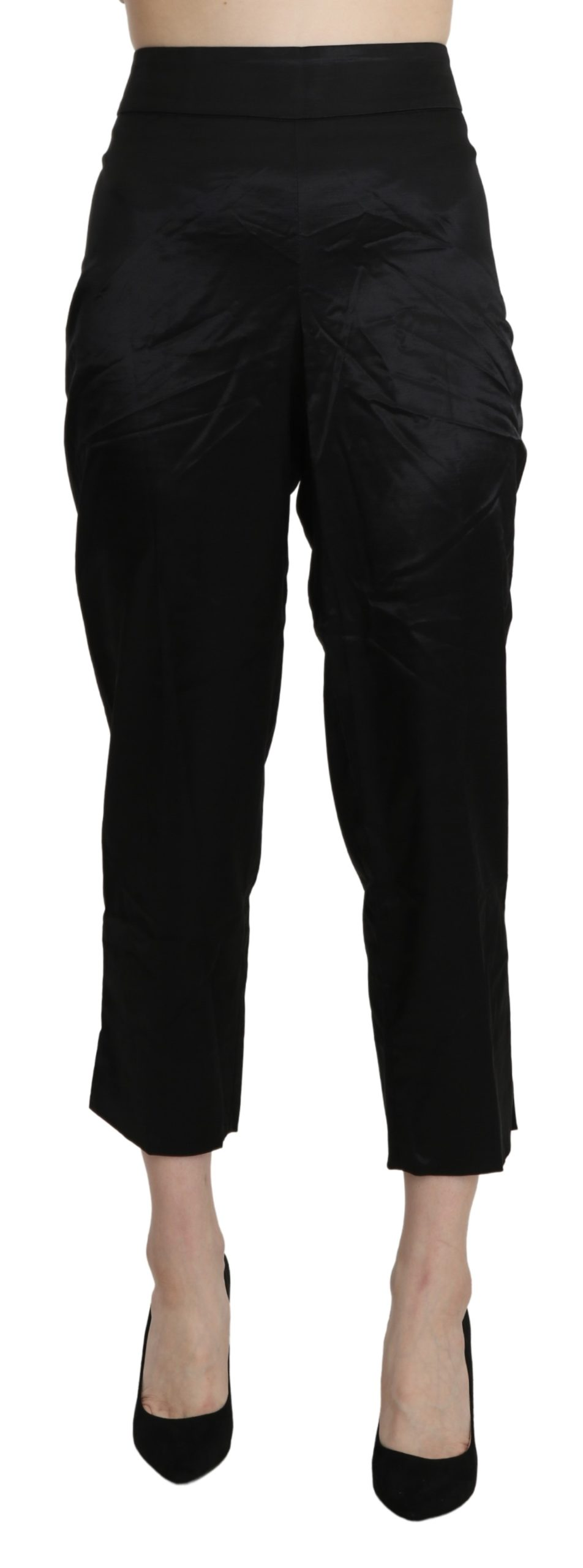 BENCIVENGA Women's High Waist Straight Cropped Trousers Black PAN71330-46 - IT46 XL