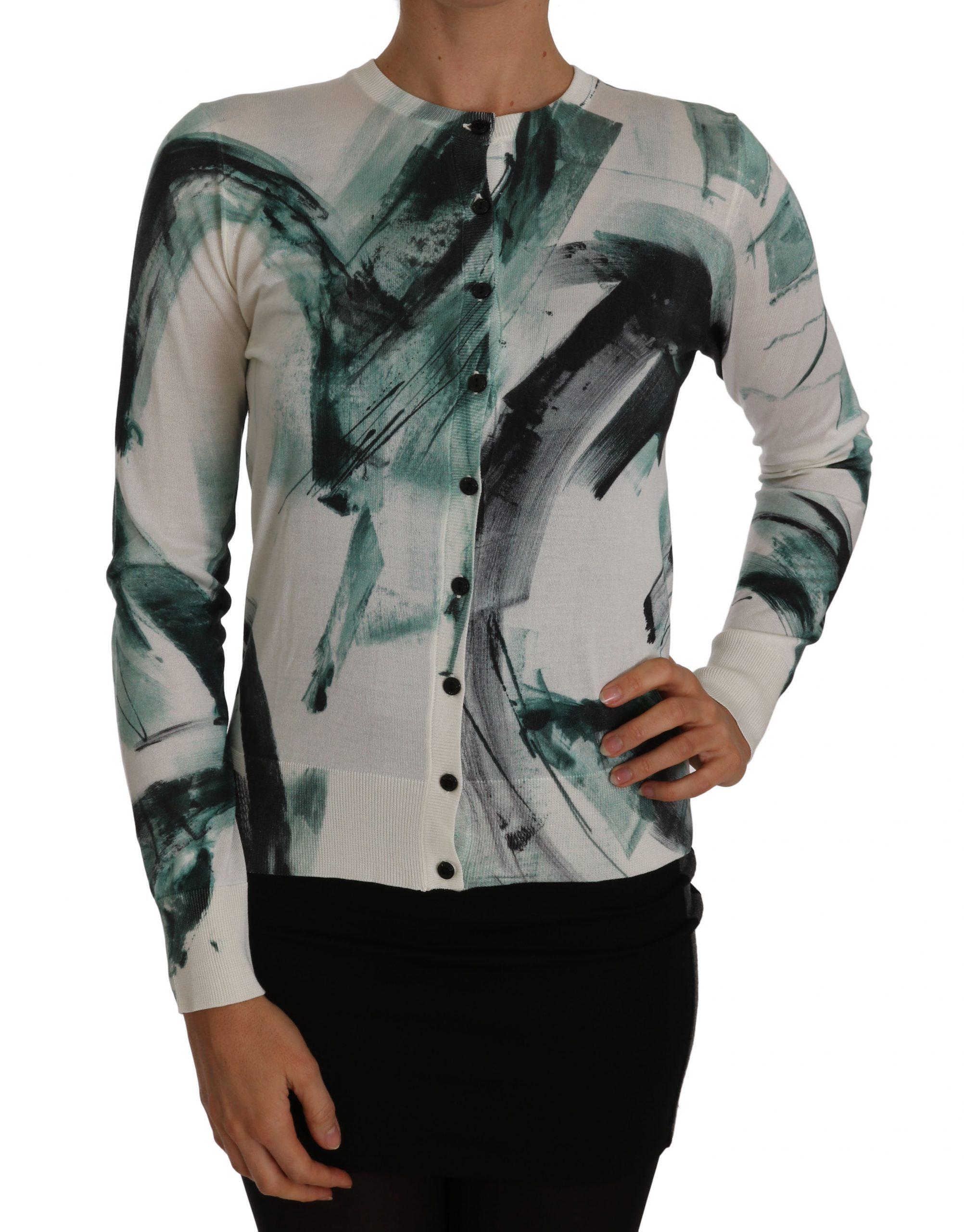 Dolce & Gabbana Women's Slk Lightweight Paint Stroke Cardigan White TSH2441 - IT36 | XS