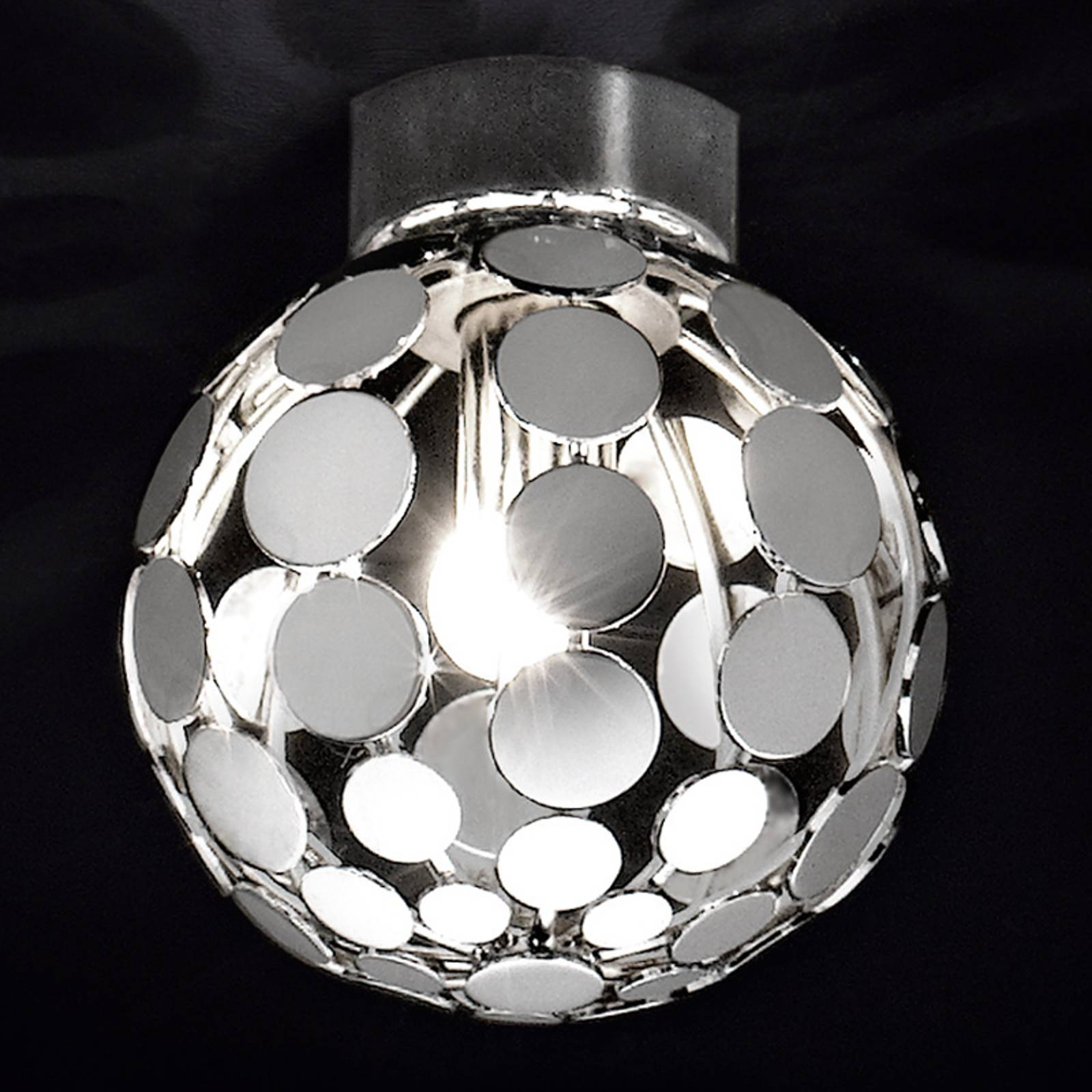 Pallonmuotoinen kromi-kattovalaisin Sfera