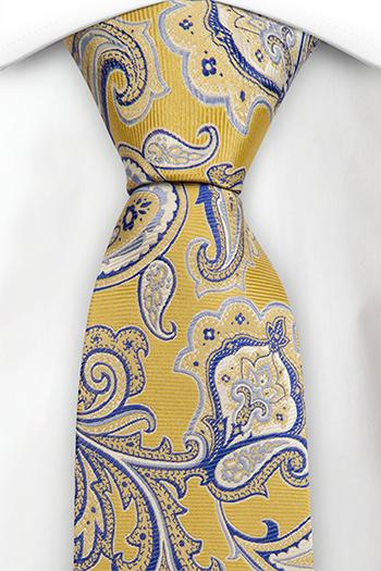Silke Slips, Stort gul og blå blomstermønster, nesten paisley, Gull, Blomster