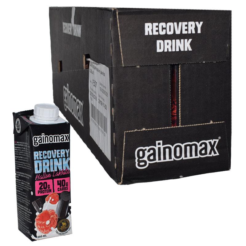 "Hel låda Proteindryck ""Recovery Drink"" Hallon & Lakrits 16 x 250ml - 71% rabatt"
