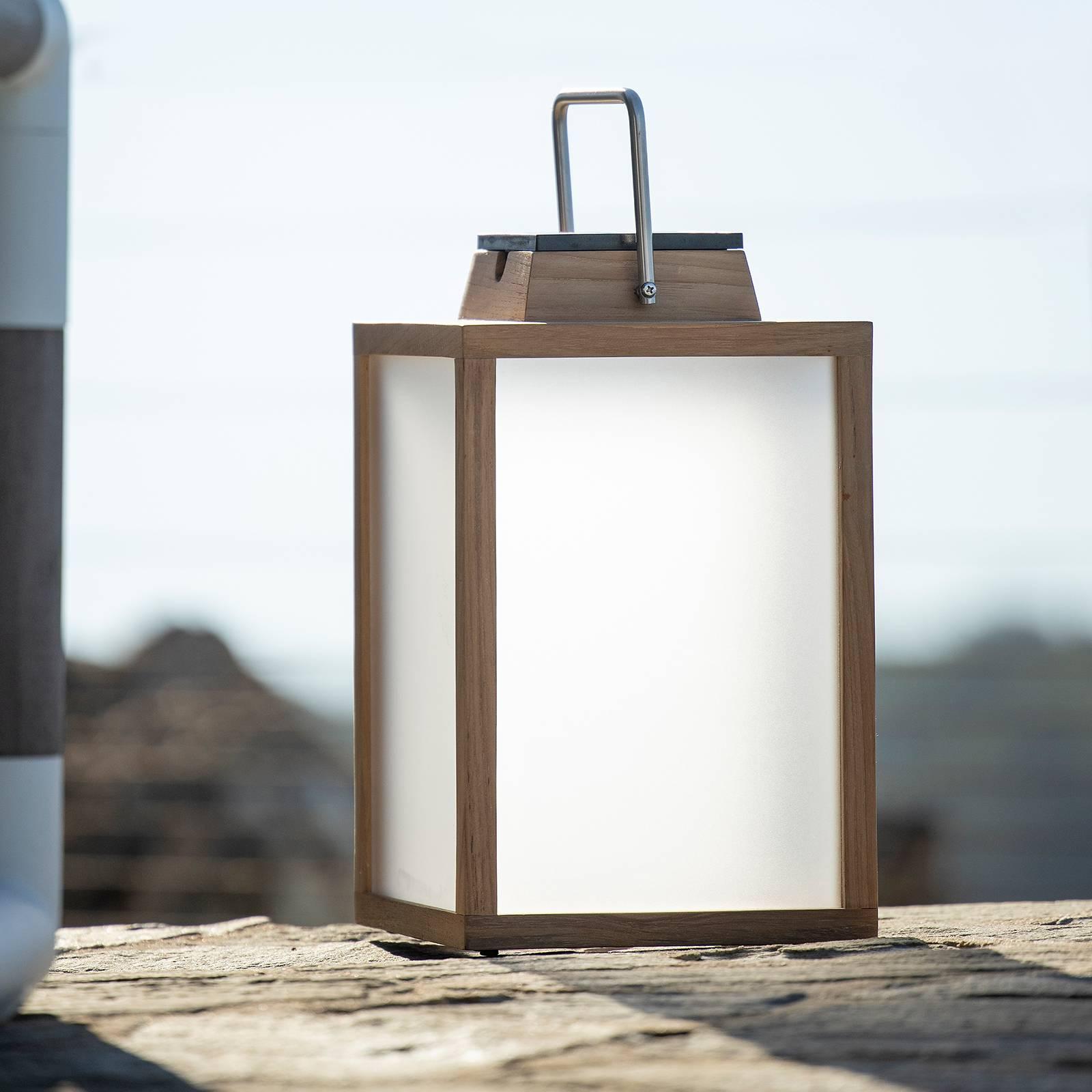 Aurinkokäyttöinen LED-lyhty Tradition tiikki 40 cm