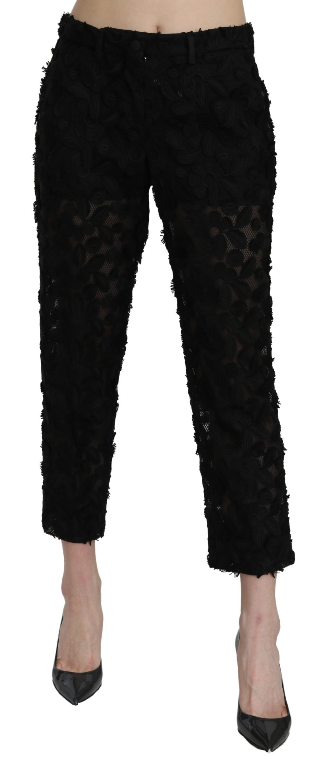 Dolce & Gabbana Women's Lace Straight High Waist Trouser Black PAN71061 - IT38|XS