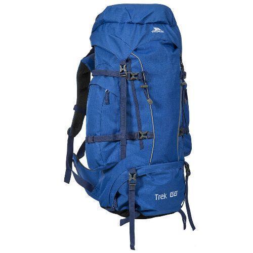 Trespass Unisex Camping Hiking Bag Backpack Various Colours Trek66 - Electric Blue 66 Litre